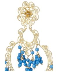 Isharya - Blue Sultana Bali Goldplated Beaded Earrings - Lyst
