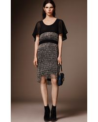 Burberry - Black Beaded Fringe Cape Sleeve Dress - Lyst