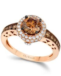 Le Vian | Brown Chocolate And White Diamond Engagement Ring In 14k Rose Gold (1-5/8 Ct. T.w.) | Lyst