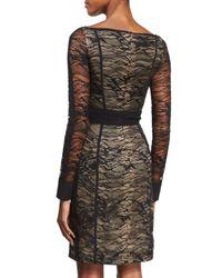 J. Mendel - Black Long-sleeve Lace Wrap-front Dress - Lyst