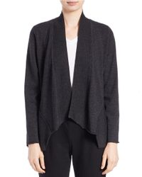 Eileen Fisher | Black Merino Wool Flyaway Cardigan | Lyst