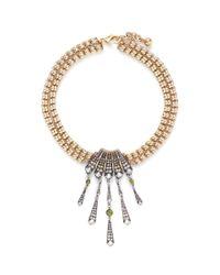 Lulu Frost - Metallic 'brigitte' Art Deco Pendant Glass Stone Necklace - Lyst