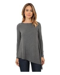 Karen Kane | Gray Long Sleeve Asymmetrical Top | Lyst