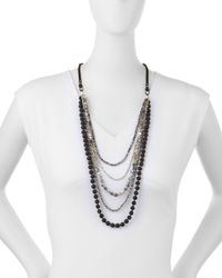 Nakamol - Black Long Multi-strand Agate & Crystal Necklace - Lyst