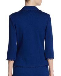 St. John - Blue Scalloped Santana Knit Jacket - Lyst