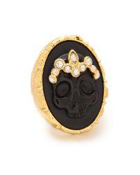 Alexis Bittar - Skull Cameo Crown Ring - Black/Gold - Lyst