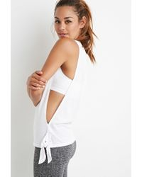 Forever 21 - White Side Knot Muscle Tee - Lyst