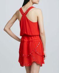 Nicole Miller Artelier - Orange Tiered Dress with Mirrored Accents - Lyst