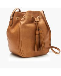 J.Crew | Brown Tassel-tie Bucket Bag | Lyst