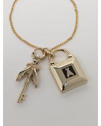 Patrizia Pepe   Metallic Costume Jewellery Bracelet With Enamel Pendent   Lyst