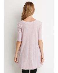 Forever 21 | Pink Raw-cut Longline Trapeze Tee You've Been Added To The Waitlist | Lyst