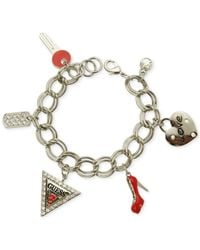 Guess - Metallic Silver-Tone Red Charm Bracelet - Lyst