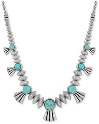 Lucky Brand | Metallic Silver-tone Round Stone Necklace | Lyst