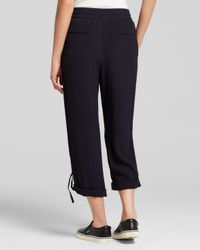 DKNY - Blue Pure Roll Cuff Crepe Drawstring Pants - Lyst