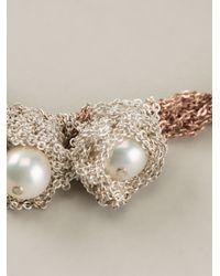 Arielle De Pinto - Metallic Chained Pearls Bracelet - Lyst