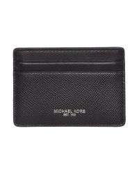 Michael Kors - Black Crossgrain Leather Cardholder for Men - Lyst