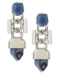 French Connection | Blue Silver-tone Stone And Chain Link Earrings | Lyst