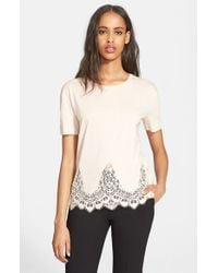 The Kooples - Natural Lace Trim Jersey Tee - Lyst