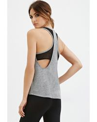 Forever 21 - Gray Active Mesh-back Tank - Lyst