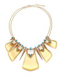 Alexis Bittar | Metallic Phoenix Deco Lucite, Turquoise Howlite, Jasper & Crystal Articulated Bib Necklace | Lyst