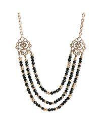 Lucky Brand - Black Goldtone Semiprecious Onyx Statement Collar Necklace - Lyst