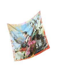 Vivienne Westwood Red Multicolor Silk Square Scarf for men