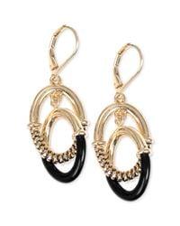 Jones New York - Metallic Goldtone Black Double Hoop Earrings - Lyst