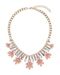 Mikey | Pink Crystal Enamel Flower Hanging Necklace | Lyst