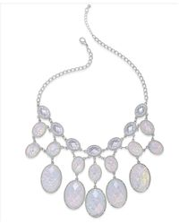 Style & Co. | Style&co. Silver-tone White Oval Stone Foil Bib Necklace | Lyst