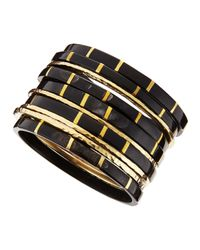 Ashley Pittman - Black Bora Dark Horn & Bronze Bangle Set - Lyst