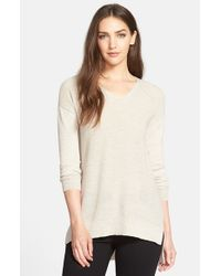 Eileen Fisher - Blue Rib Knit Wool V-Neck Top - Lyst