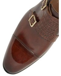 Santoni - Brown Brushed Leather & Croc Monk Strap Shoes for Men - Lyst