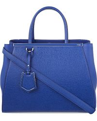 Fendi | 2jours Leather Tote, Women's, Blue Neon | Lyst