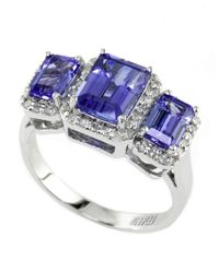 Effy | Purple Tanzanite, Diamond And 14k White Gold Ring | Lyst