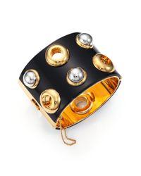 Marc By Marc Jacobs | Black Grommet Cabochon Cuff Bracelet | Lyst