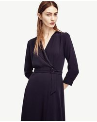 Ann Taylor - Blue Petite Satin Collar Wrap Dress - Lyst