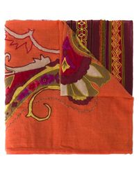 Etro - Yellow Appliqué Embroidered Scarf - Lyst