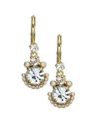 kate spade new york | White Gold-Tone Palace Gem Faux Pearl And Crystal Drop Earrings | Lyst