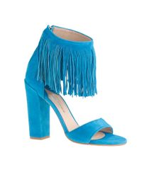 J.Crew | Blue Paul Andrew Fringe High-heel Sandals | Lyst