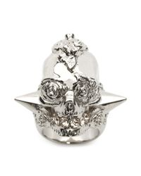 Alexander McQueen - Metallic Punk Rose Ring for Men - Lyst