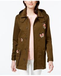 Cece by Cynthia Steffe Green Butterfly Embroidered Anorak Jacket