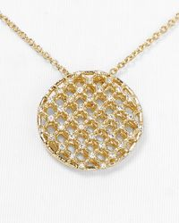 Nadri - Metallic Lattice Circle Pendant Necklace 15 - Lyst