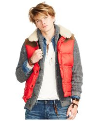 Denim & Supply Ralph Lauren | Red Ripstop Down Vest for Men | Lyst
