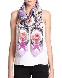 Givenchy - Purple Paradise Flowers Cotton & Silk Scarf - Lyst