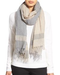 Lafayette 148 New York | Gray 'inspiring Stripe' Wool Scarf | Lyst