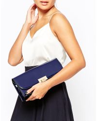 Dune - Blue Patent Clutch Bag - Lyst