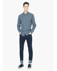 Mango - Green Slim-fit Gingham Check Shirt for Men - Lyst
