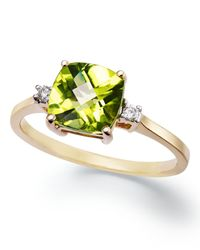 Macy's | Green 14k Gold Ring, Cushion-cut Peridot (1-5/8 Ct. T.w.) And Diamond Accent Ring | Lyst