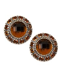 Konstantino - Metallic Sterling Silver Cognac & Citrine Round Button Earrings - Lyst