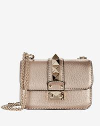 47b6d90d228 Valentino Mini Rockstud Lock Shoulder Bag  Rose Gold in Natural - Lyst